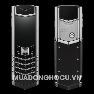 Vertu Stainless Steel Black Leather