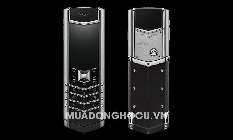 Vertu Stainless Steel Black Leather
