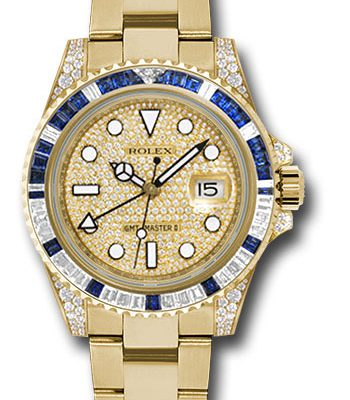 Đồng Hồ Rolex 116758SA pave GMT-Master II Yellow Gold