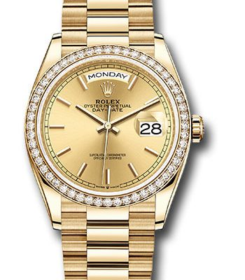 Đồng Hồ Rolex 128348RBR chip Day-Date 36 Yellow Gold - 52 Dia Bezel - President