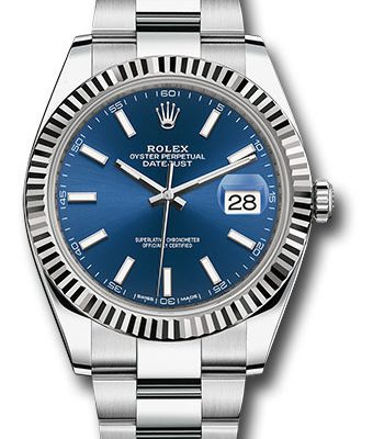 Đồng Hồ Rolex 126334 blio Datejust 41 Steel and White Gold - Fluted Bezel - Oyster