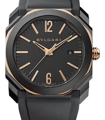 Đồng Hồ Bulgari 103085- Octo 41 mm - Black Steel and Pink Gold