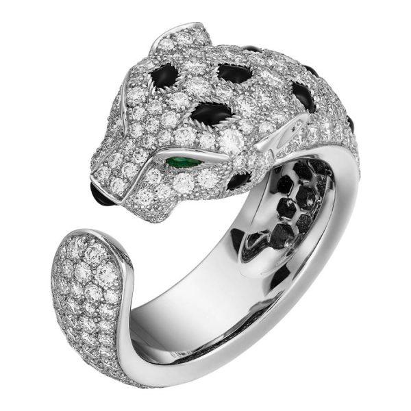 Nhẫn Panthère de Cartier - White gold, emeralds, onyx, diamonds